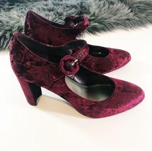 Shoes - Retro Crushed Velvet Heels